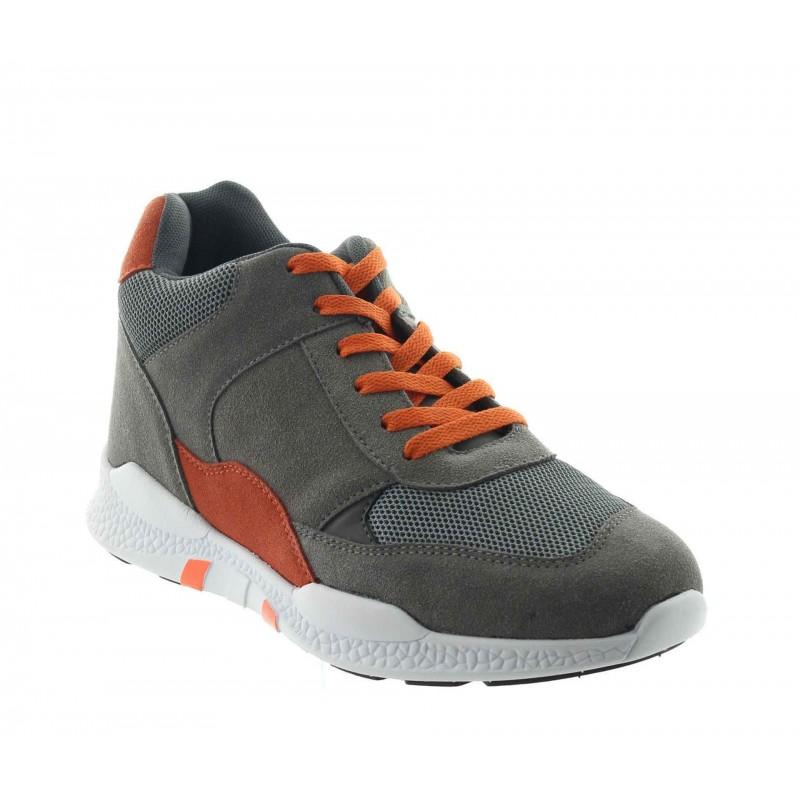 Włoskie buty podwyższające Mężczyzna - Szary - Nubuk w połączeniu z siatką - +7 CM - Vieste - Mario Bertulli