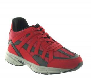 Włoskie buty podwyższające Mężczyzna - Czerwony - Skórzane/siatkowe  - +7 CM - Drena - Mario Bertulli