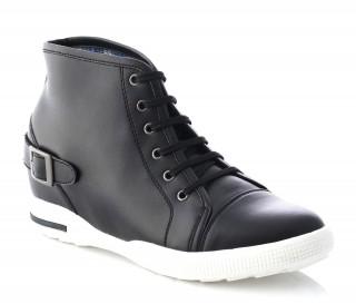 Włoskie buty podwyższające Kobieta  - Czarny - Skóra - +7 CM - Isabella  - Mario Bertulli