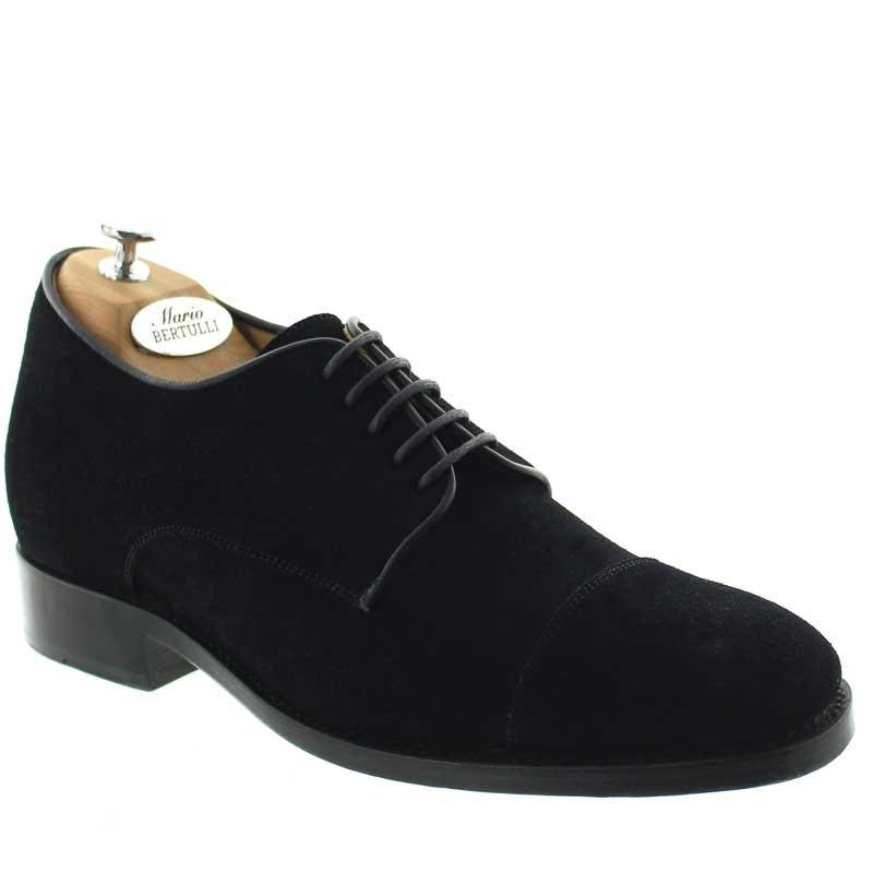 buty richelieu na koturnie Mężczyzna - Czarny - Nubuk - +6 CM - Valentino - Mario Bertulli