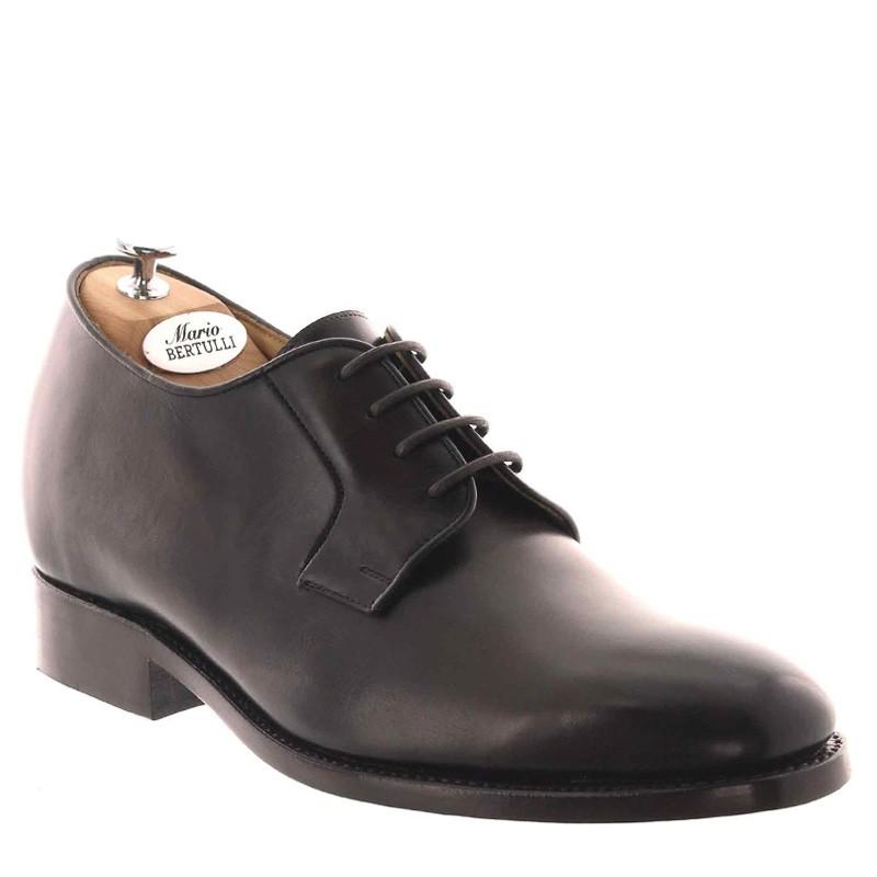 buty derby na koturnie Mężczyzna - Czekoladowy - Pełnoziarnista skóra cielęca - +6 CM - Georgio - Mario Bertulli