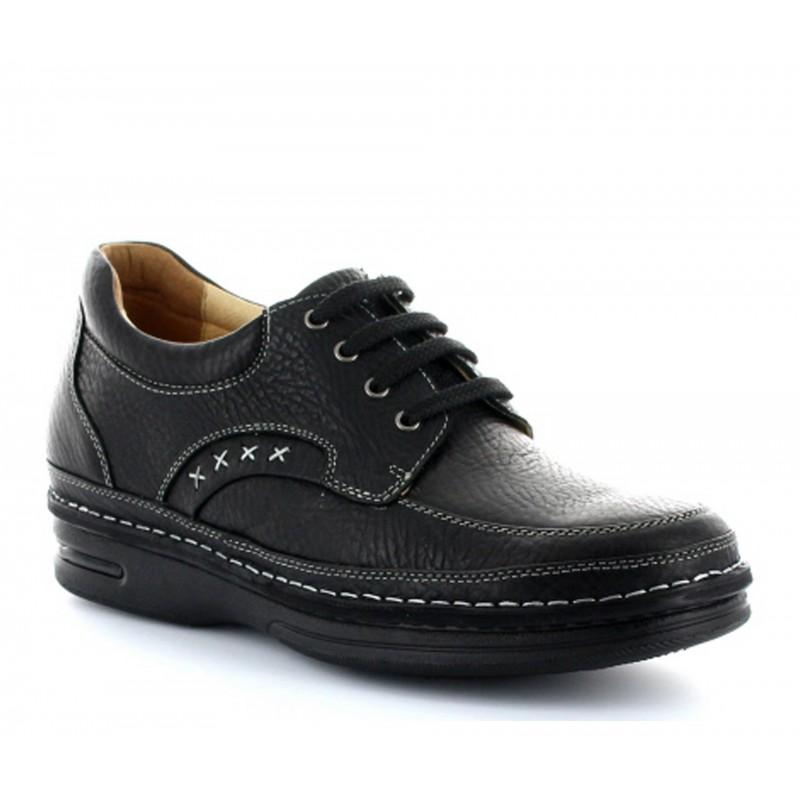 buty derby na koturnie Mężczyzna - Czarny - Skóra - +7,5 CM - Terni - Mario Bertulli