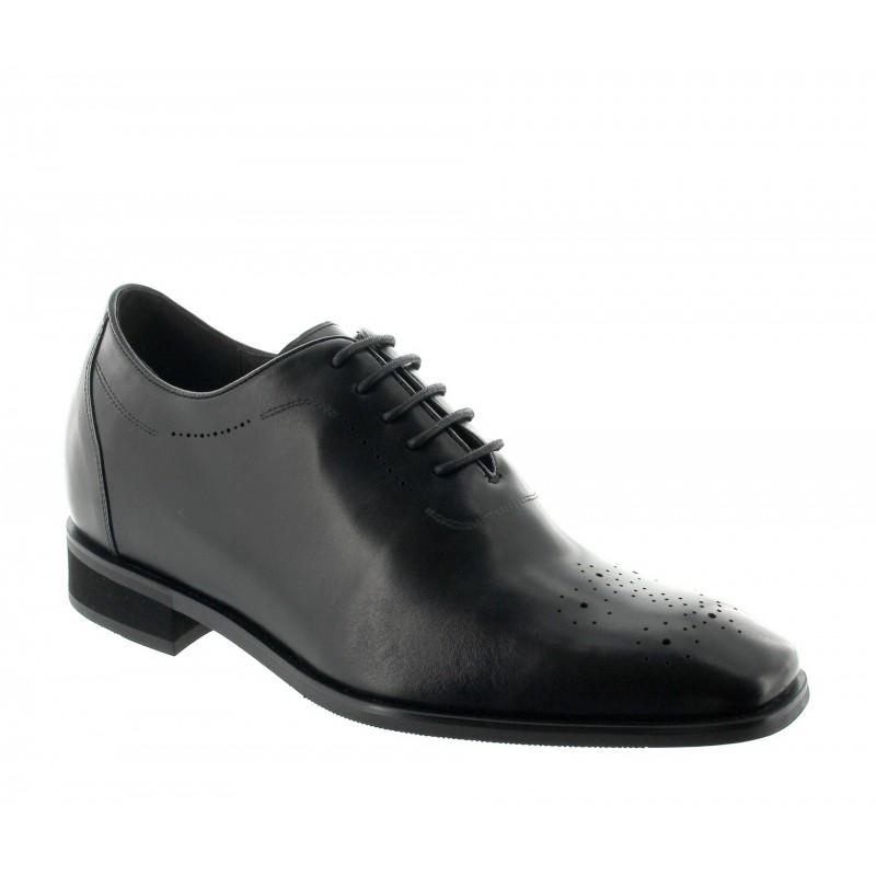 buty richelieu na koturnie Mężczyzna - Czarny - Skóra - +7,5 CM - Varallo - Mario Bertulli