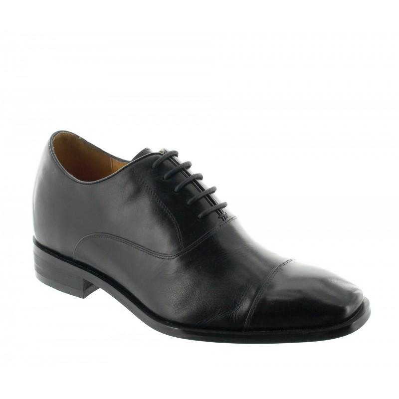 buty derby na koturnie Mężczyzna - Czarny - Skóra - +7,5 CM - Pombia - Mario Bertulli