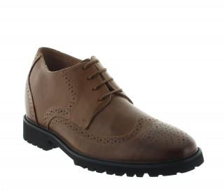 buty derby na koturnie Mężczyzna - Brązowy - Skóra - +7 CM - Seveso - Mario Bertulli