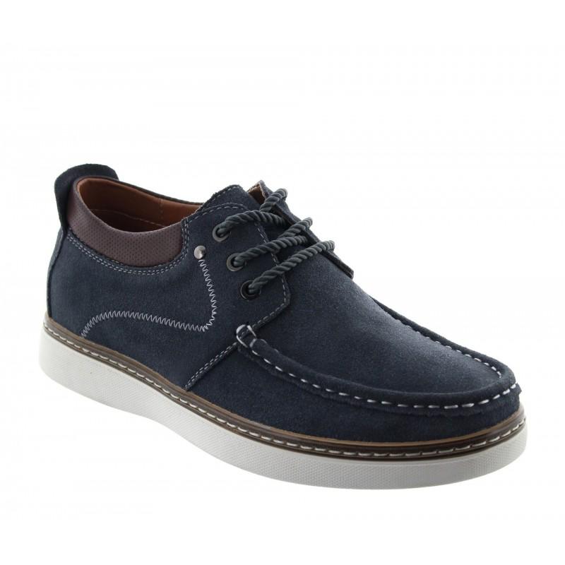 Kup ten model Pistoia z nubuku w kolorze ciemno-szarym, który zwiększa wzrost mężczyzn o 5.5 cm - widok obuwia z boku