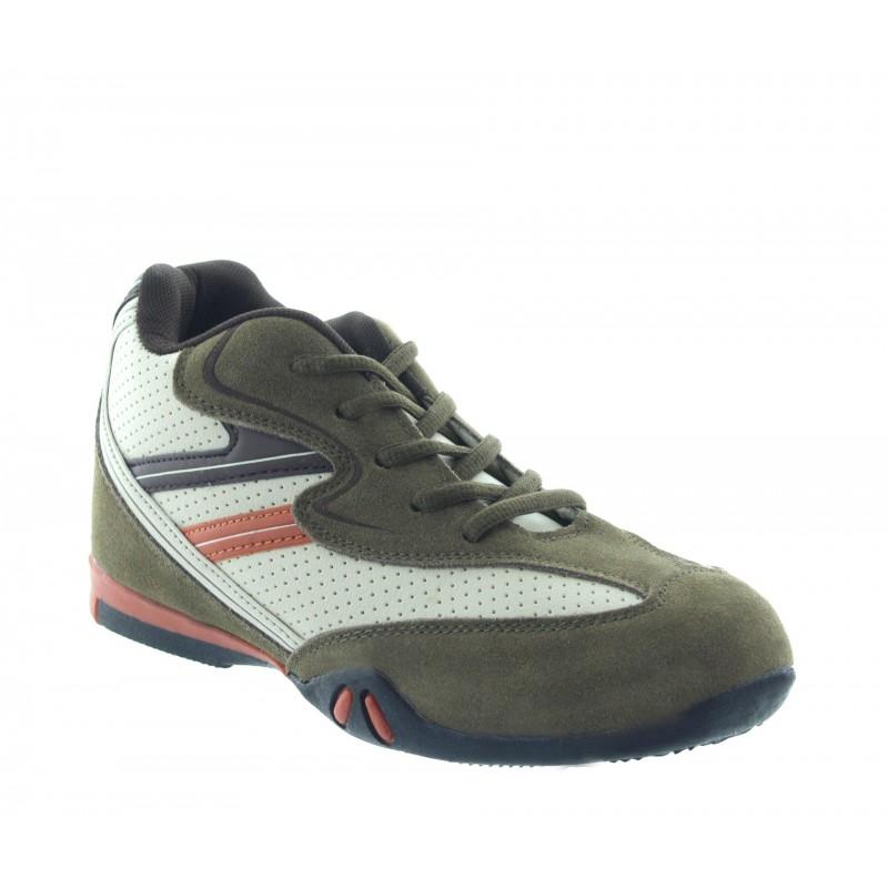 Włoskie buty podwyższające Mężczyzna  - Khaki - Nubuk / Skóra - +6,5 CM - Loreto  - Mario Bertulli