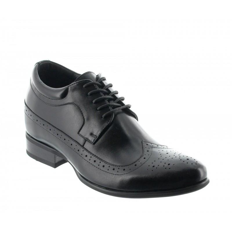 buty derby na koturnie Mężczyzna - Czarny - Skóra - +7 CM - Sestri - Mario Bertulli