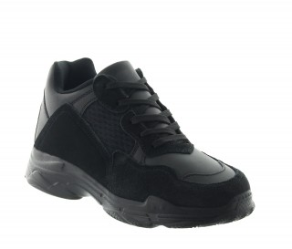 Włoskie buty podwyższające Mężczyzna - Czarny - Skórzane/nubuku/siatkowe pokrycie - +7 CM - Sestino - Mario Bertulli