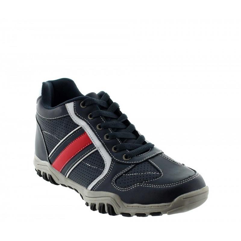 Elevator Sports Shoes Men - Blue - Leather - +2.4'' / +6 CM - Crotone - Mario Bertulli