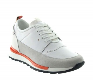 Elevator Sneakers Men - White - Nubuk / Leather - +2.8'' / +7 CM - Peschici - Mario Bertulli