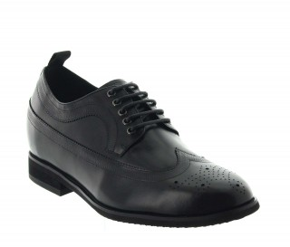 Gargano Height Increasing Derby Shoes Black +7.5cm