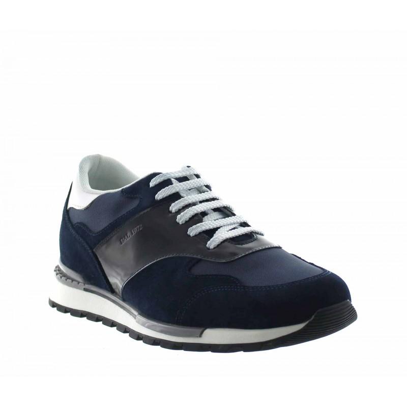 Elevator Sports Shoes Men - Blue - Leather / Fabric - +2.6'' / +6,5 CM - Acquaro - Mario Bertulli