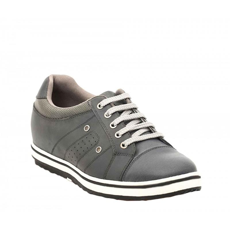 Elevator Sports Shoes Men - Dark gray - Leather - +2.4'' / +6 CM - Alghero - Mario Bertulli