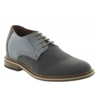 Elevator Oxfords Shoes Men - Light gray - Nubuk / Leather - +2.4'' / +6 CM - Trabia - Mario Bertulli