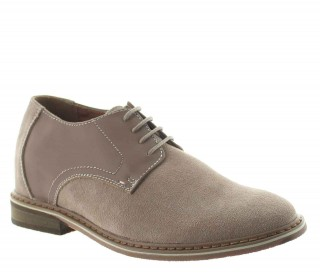 Elevator Oxfords Shoes Men - Beige - Nubuk / Leather - +2.4'' / +6 CM - Trabia - Mario Bertulli