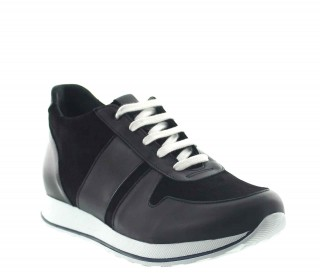 Elevator Sneakers Men - Black - Leather/daim - +2.8'' / +7 CM - Pomarolo - Mario Bertulli