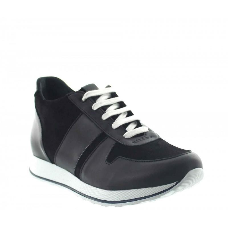 Elevator Sneakers Men - Black - Leather/daim - +2.8'' / +7 CM - Pomarolo - Mario Bertulli