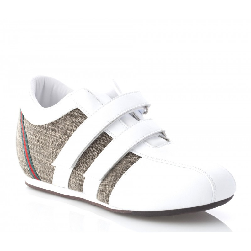 Elevator Sports Shoes Lady - White - Leather / Fabric - +2.8'' / +7 CM - Gina - Mario Bertulli