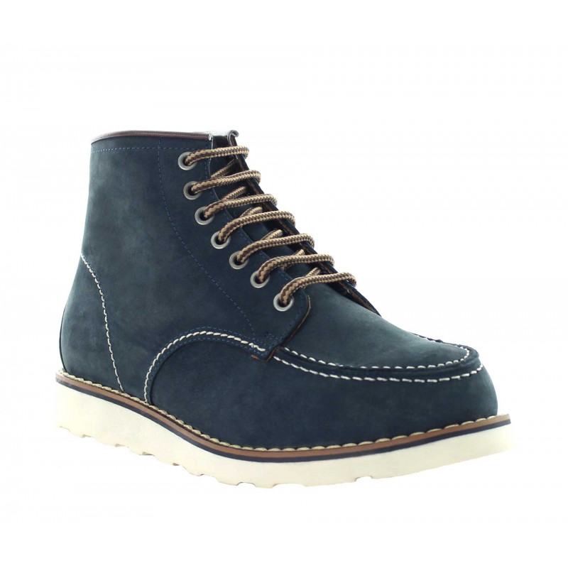 Elevator Boots Men - Navy blue - Leather - +3.0'' / +7,5 CM - Isera - Mario Bertulli