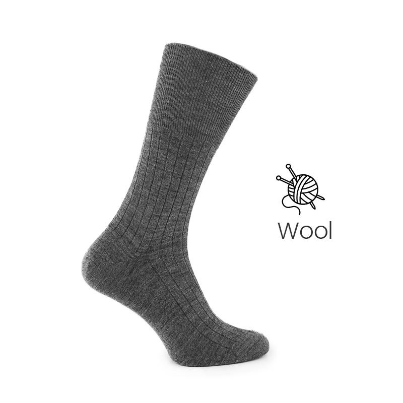 Grey wool socks - Luxury Wool Socks Men from Mario Bertulli - specialist in height increasing shoes