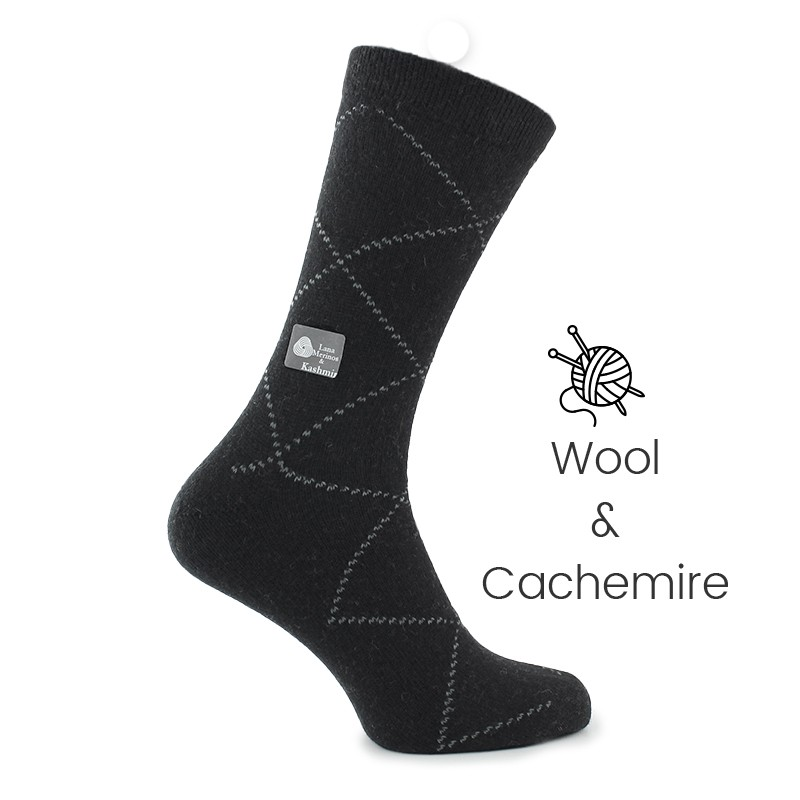 Black wool/cashmere socks - Luxury Cashmere Socks Men from Mario Bertulli - specialist in height increasing shoes