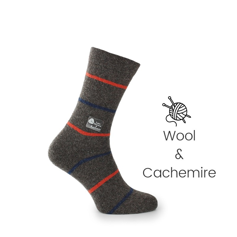 Brown wool/cachemire striped socks - Luxury Cashmere Socks Men from Mario Bertulli - specialist in height increasing shoes