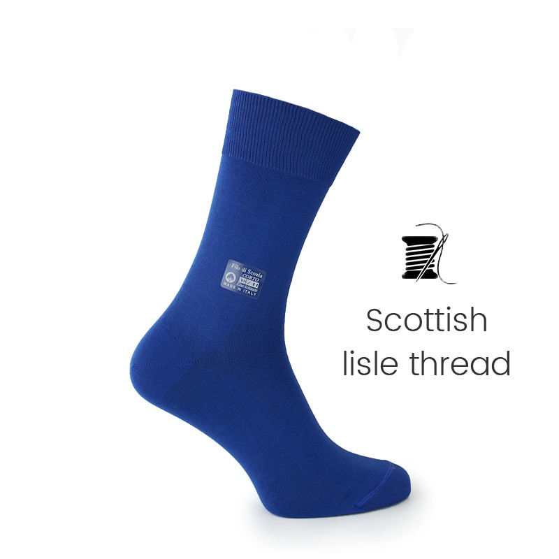 Blue Scottish lisle thread socks - Scottish Thread Socks from Mario Bertulli - specialist in height increasing shoes