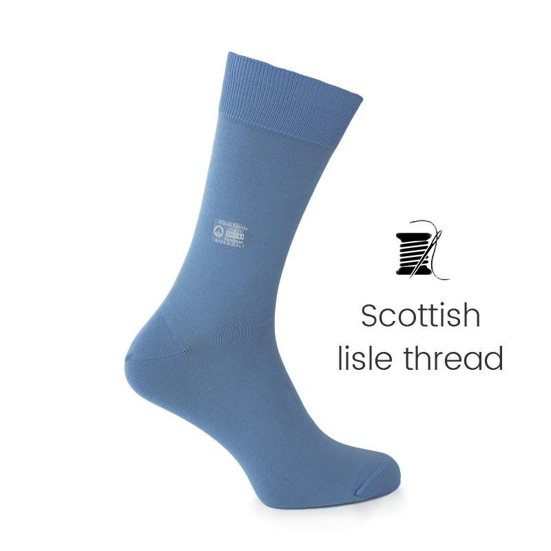 Light blue Scottish lisle thread socks - Scottish Thread Socks from Mario Bertulli - specialist in height increasing shoes