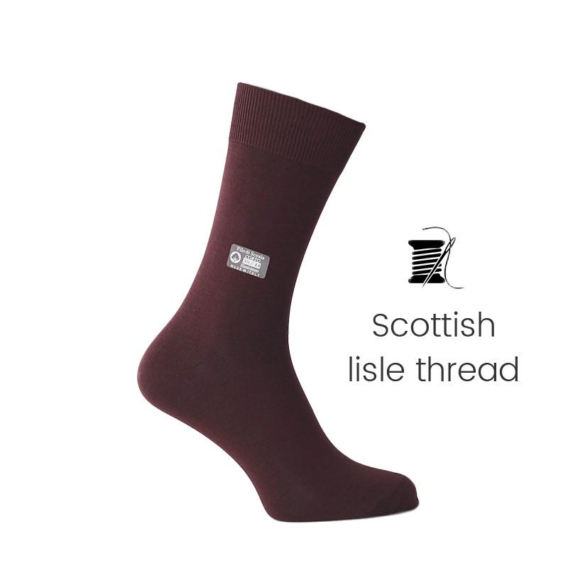 Bordeaux Scottish lisle thread socks - Scottish Thread Socks from Mario Bertulli - specialist in height increasing shoes