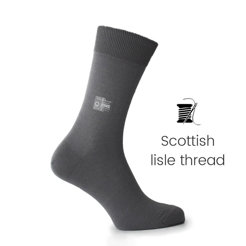 Light grey Scottish lisle thread socks - Scottish Thread Socks from Mario Bertulli - specialist in height increasing shoes