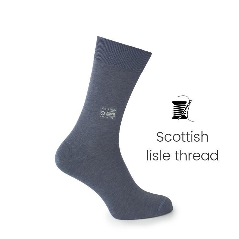 Dark grey Scottish lisle thread socks - Scottish Thread Socks from Mario Bertulli - specialist in height increasing shoes