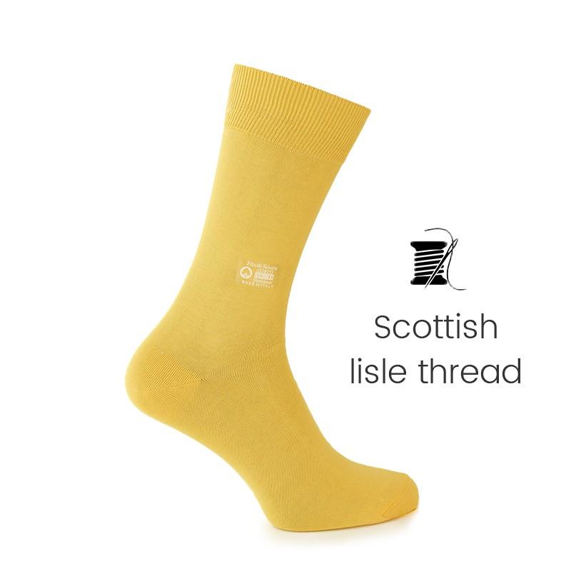 Yellow Scottish lisle thread socks - Scottish Thread Socks from Mario Bertulli - specialist in height increasing shoes