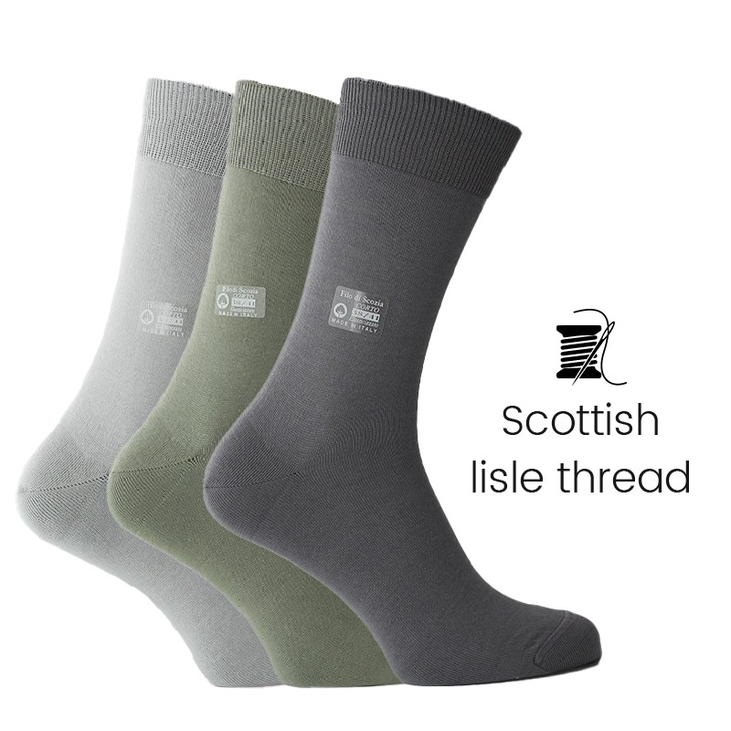 3 pairs socks box - grey/green/light grey - Luxury Men's Socks Online from Mario Bertulli - specialist in height increasing shoe