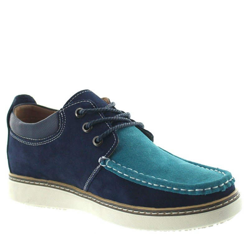 Pistoia Height Increasing Shoes Navy Blue/turquoise +5.5cm