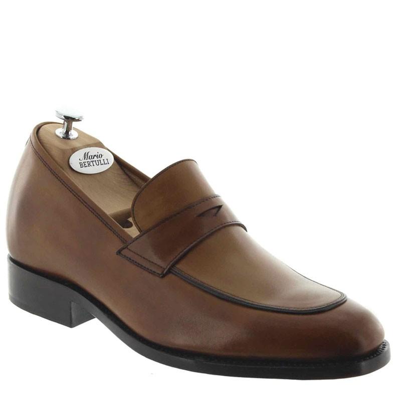 Elevator Loafers Men - Brown - Full grain calf leather - +2.4'' / +6 CM - Marco - Mario Bertulli