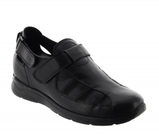 Elevator Sandals Men - Black - Leather - +2.6'' / +6,5 CM - Bova - Mario Bertulli