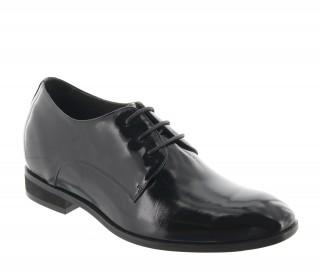 Elevator Derby Shoes Men - Black patent - Leather - +2.8'' / +7 CM - Noto - Mario Bertulli