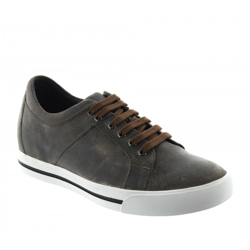 Mondolfo height shoes for mens sneakers brown +6cm