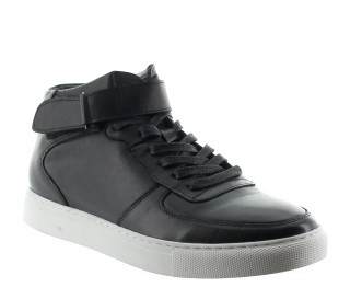 OLIVETTA SNEAKERS BLACK LEATHER +5CM