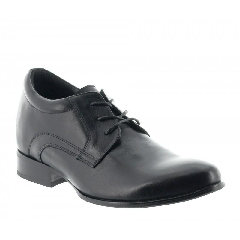 Elevator Derby Shoes Men - Black - Leather - +2.8'' / +7 CM - Ostana - Mario Bertulli