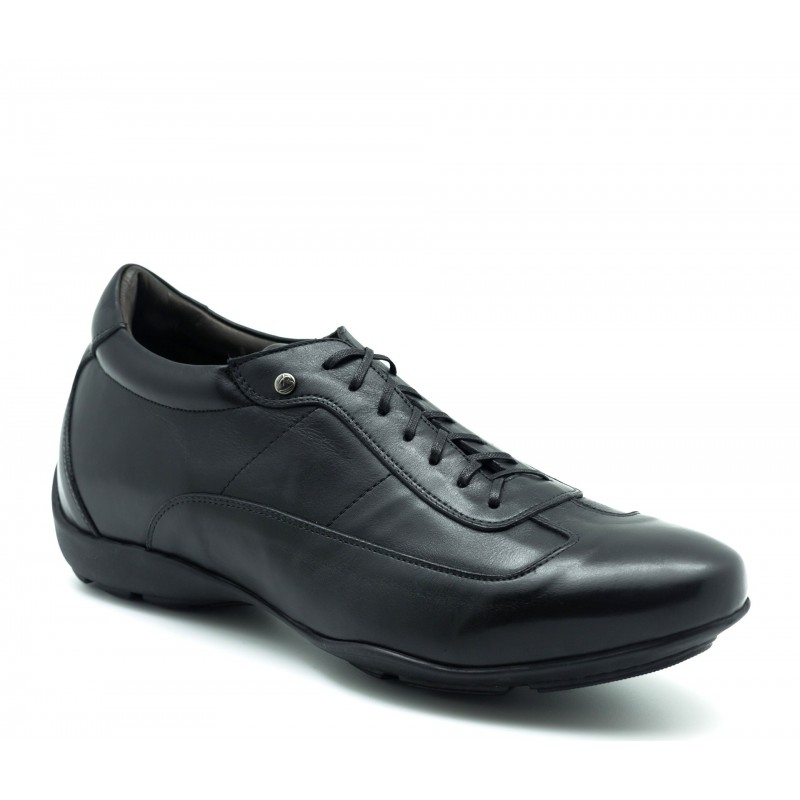 Elevator Sneakers Men - Black - Full grain calf leather - +2.0'' / +5 CM - Arezzo - Mario Bertulli
