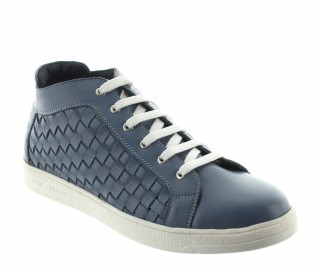 Elevator Sneakers Men - Blue - Leather - +2.2'' / +5,5 CM - Sassello - Mario Bertulli