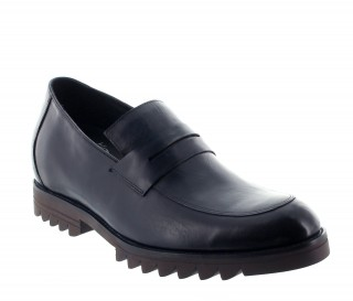 Elevator Loafers Men - Blue - Leather - +2.6'' / +6,5 CM - Miasino - Mario Bertulli