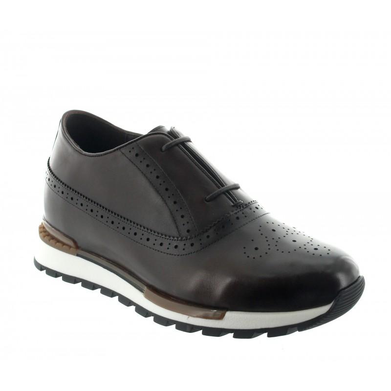 Elevator Sneakers Men - Brown - Leather - +2.6'' / +6,5 CM - Agerola - Mario Bertulli