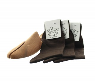 1 PACK OF 3 LISLE COTTON SOCKS - BROWN