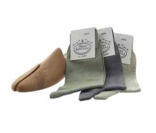 1 PACK OF 3 LISLE COTTON SOCKS - KAKI/BEIGE/GREY