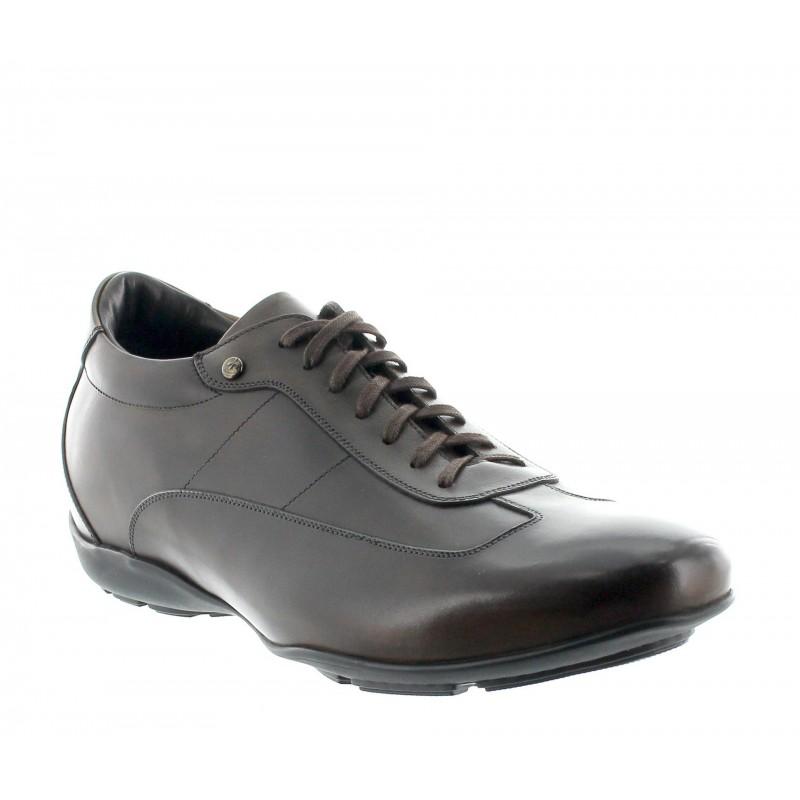 Elevator Sneakers Men - Chocolate - Full grain calf leather - +2.0'' / +5 CM - Arezzo - Mario Bertulli
