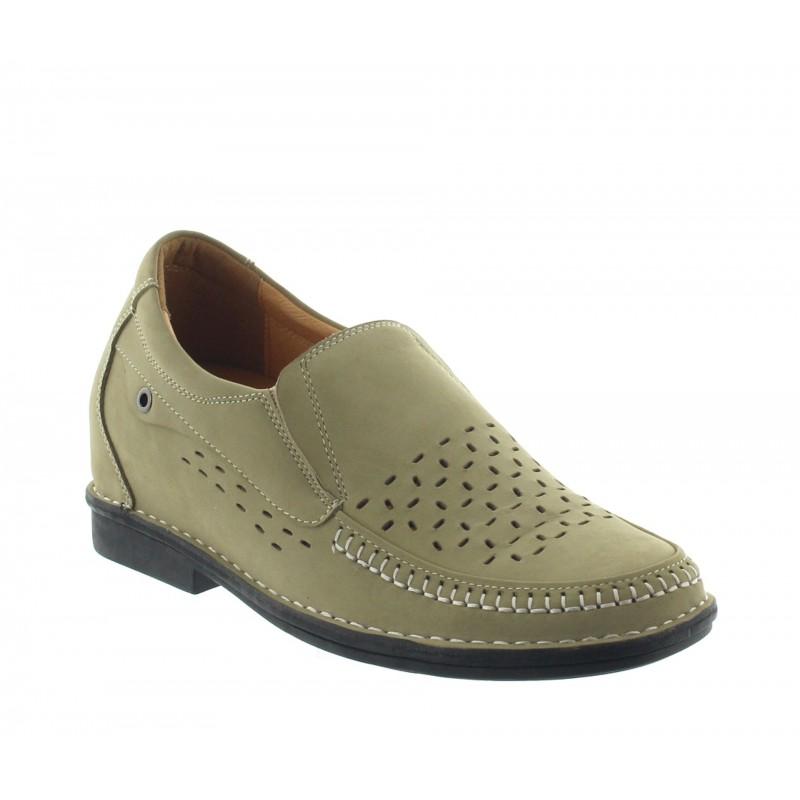 Ragusa elevator loafer shoes beige +7cm
