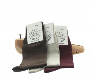 1 PACK OF 3 LISLE COTTON SOCKS - BROWN/BEIGE/BORDEAUX